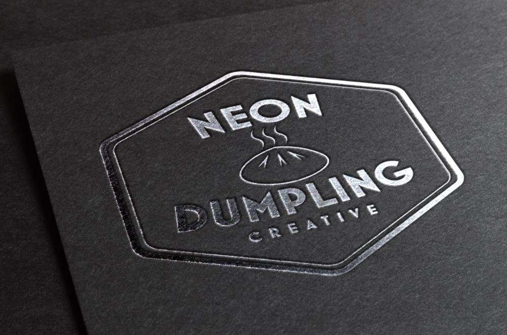 neondumplingsilverstampinglogomockupcropped